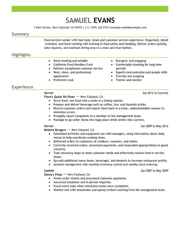 Fast Food Server Resume Example Free Resume Templates Server Resume Good Resume Examples Resume Examples