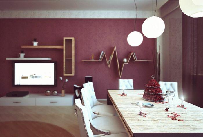 Farbgestaltung Wohnzimmer Wandgestaltung Wanddesign Granatapfel