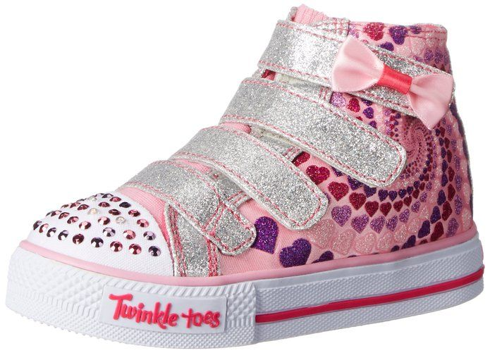 Skechers Twinkle Toes Shuffles Lil Skippers Kids Pink Light-Up Shoes