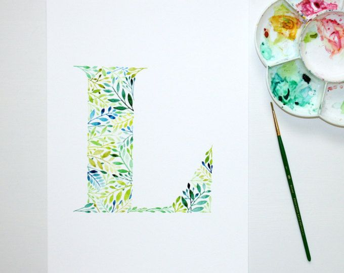 Letter L Wall Art Print Watercolour Artwork Hand Painted Nursery