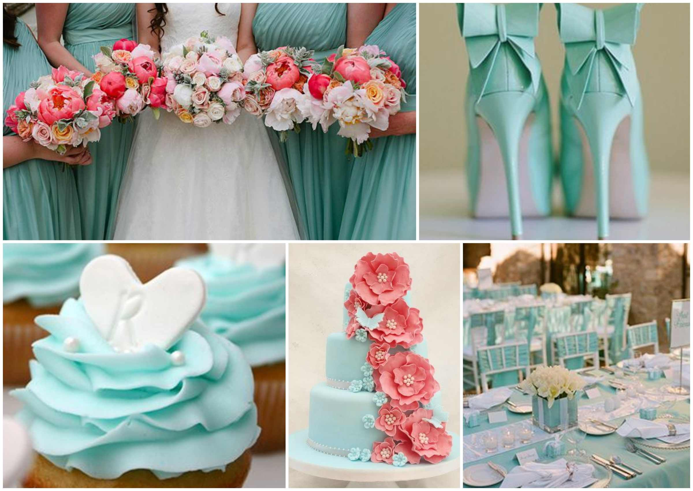 How gorgeous is this contrast between the pale tiffany blue and vibrant coral colours. Perfect for a spring wedding!