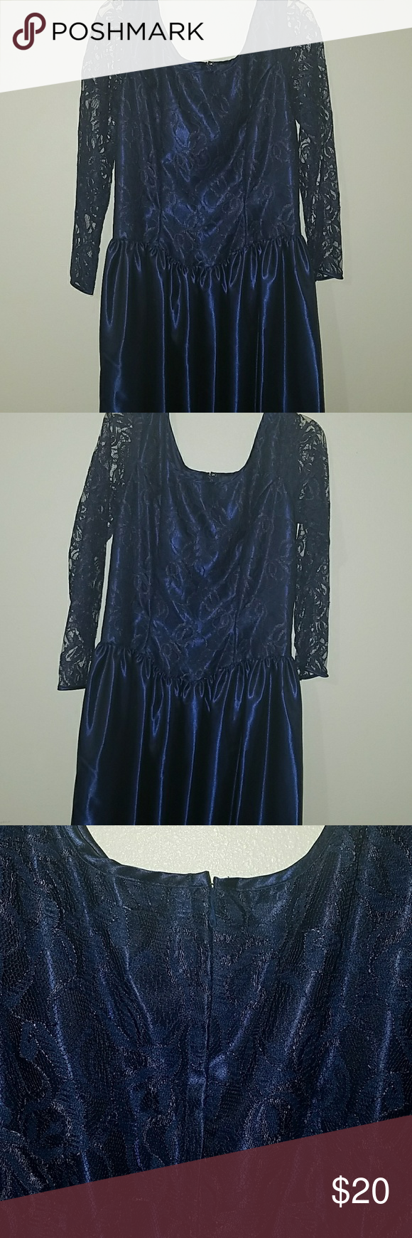 Blue brides maids dress Lovely dark blue with easy zipper in back. Would fit a large or extra large. Dresses Wedding