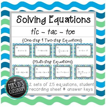 Solving Equations Tic-Tac-Toe | Pinterest | Solving equations ...