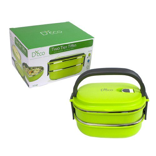 Stacking Lunch Box - Two Tier Tiffin with Vacuum Seal Lid and Stainless Steel Interior (Lime Green) Deco,http://www.amazon.com/dp/B00FMZY9KA/ref=cm_sw_r_pi_dp_2H2htb1SA431TJKR