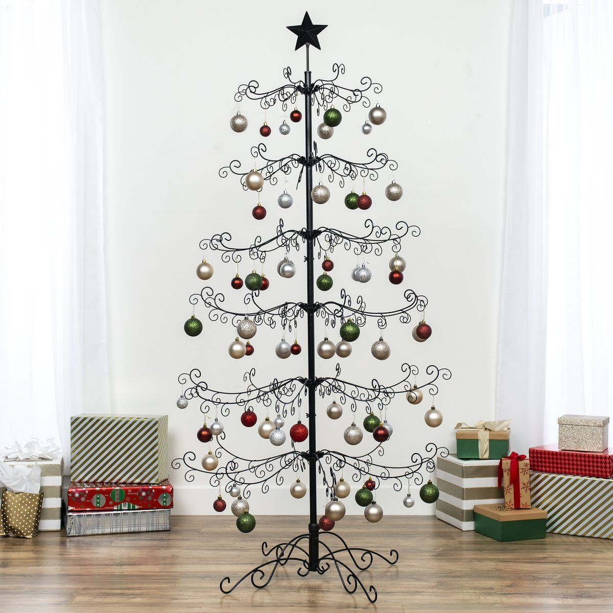 6ft Wrought Iron Ornament Display Christmas Tree W Easy Assembly Stand Ornament Display Wrought Iron Christmas Tree Ornament Tree Display