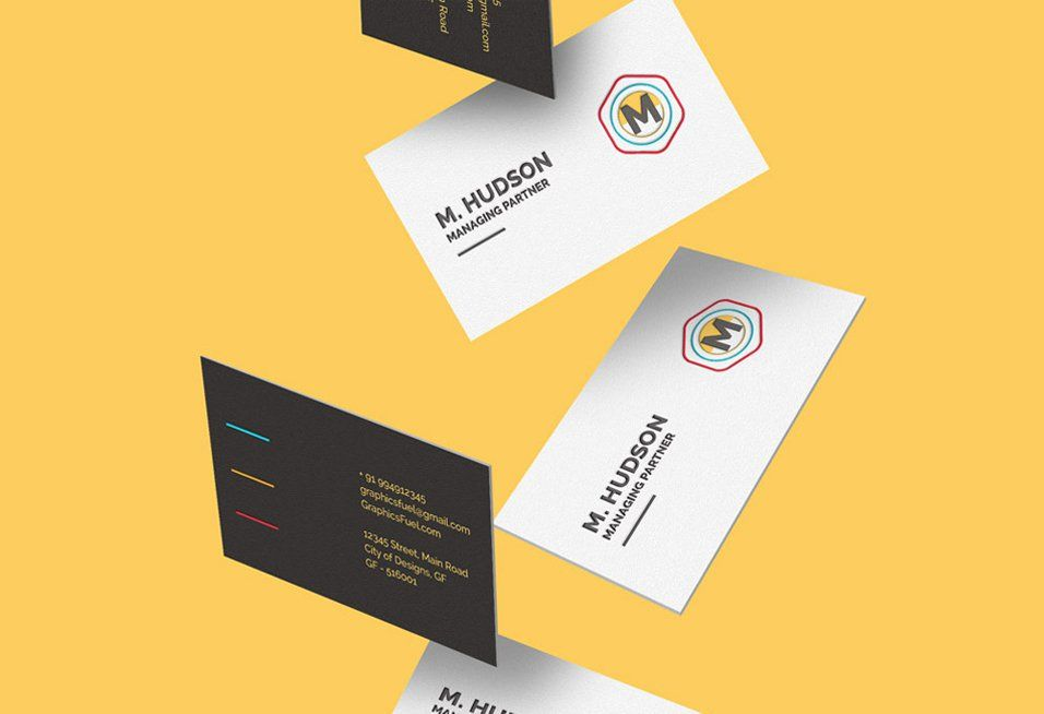 Free Falling Business Cards Mockup PSD | Mockup | Pinterest ...