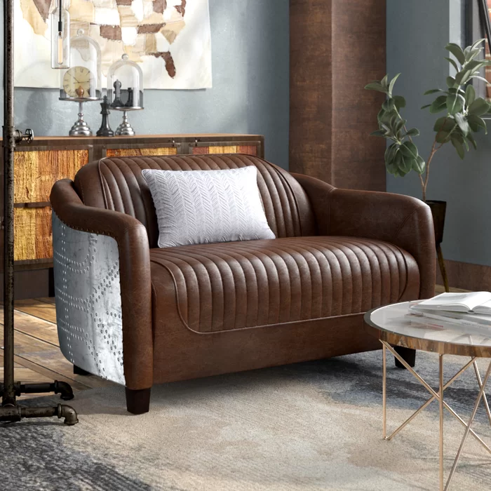 "Analise Leather 50"" Round Arms Loveseat Love seat"