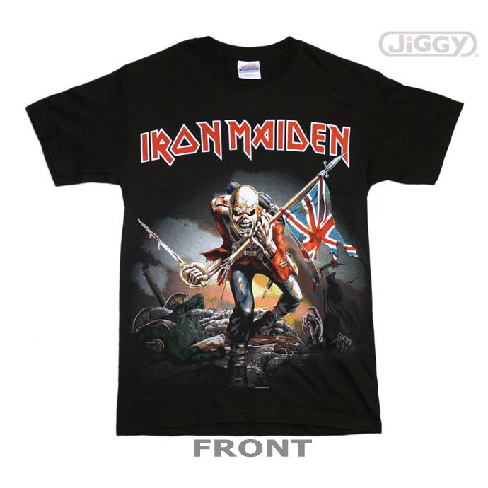 Iron Maiden T-shirt Tour Trooper Front And Back Print Men/'s Black