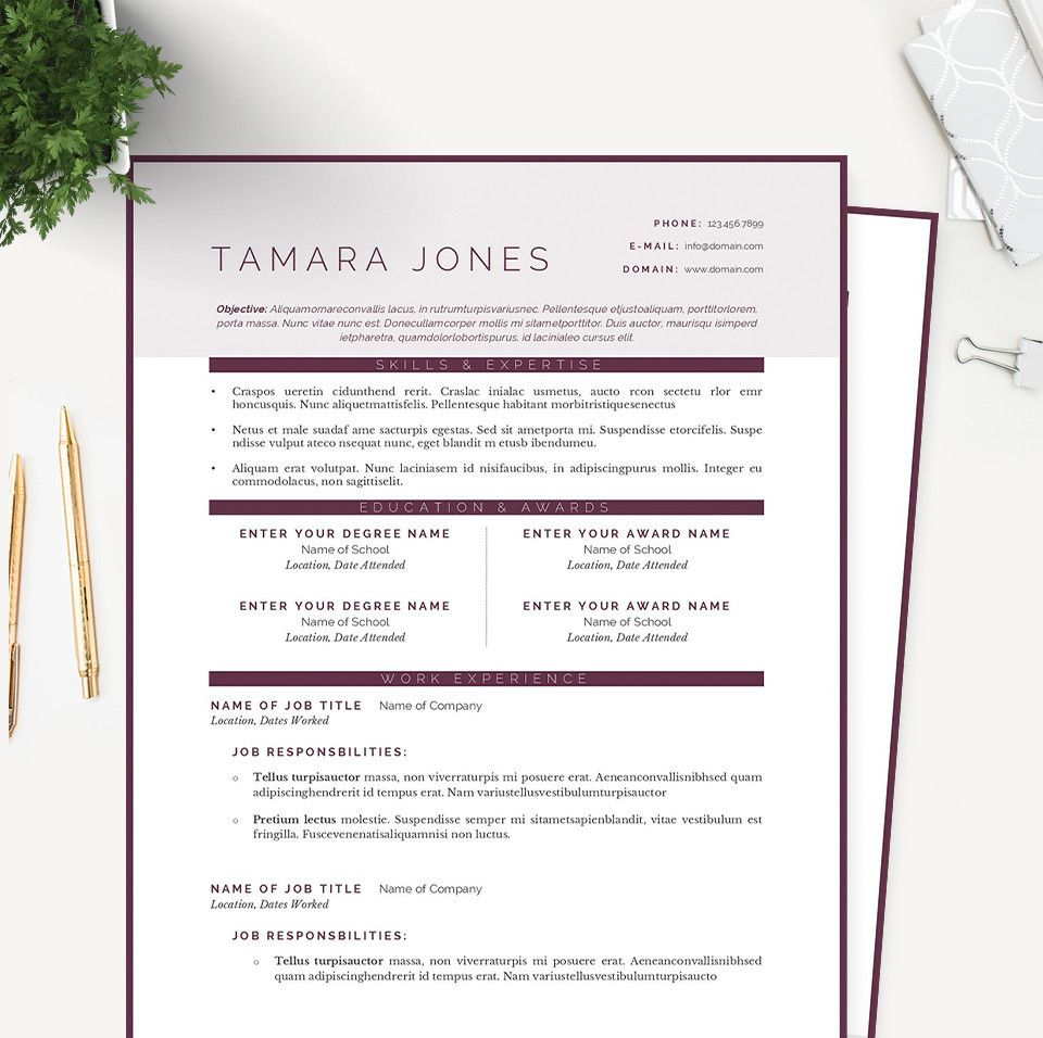 Plum Resume Cover Letter  References Template Package  Resumes