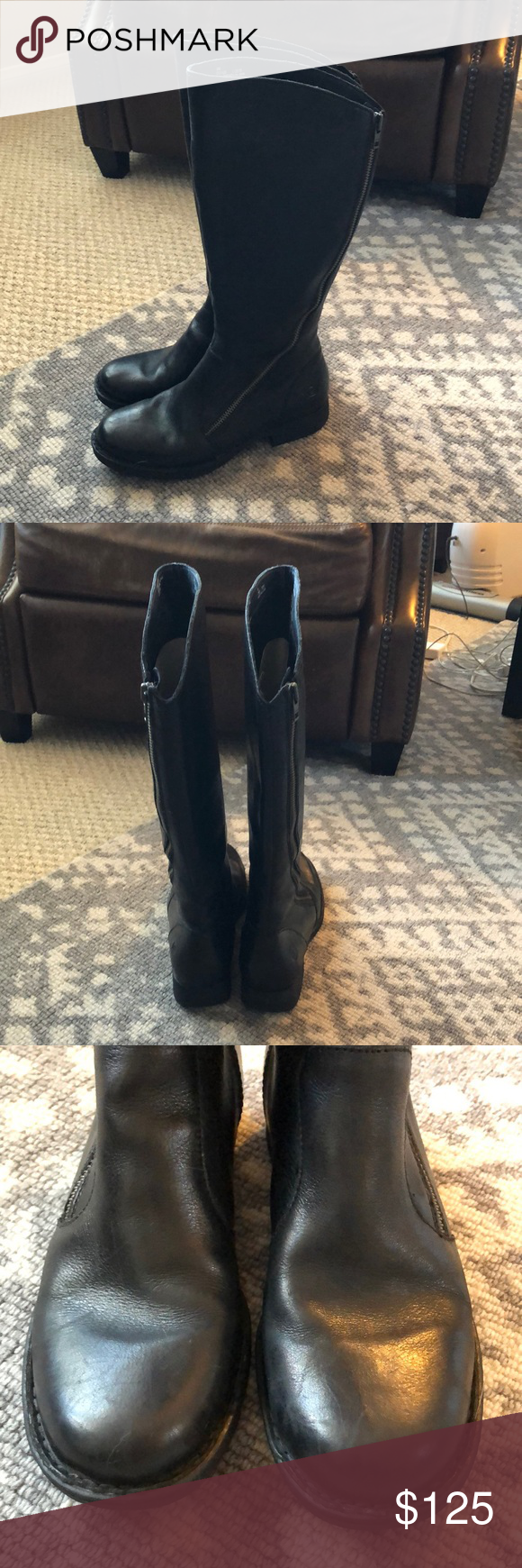 "f4c08e49fd1f Born Laurette tall boots size 9 Worn 3-4 times. Light wear to the soles and  light scuffs on heels. 1.25"" heel. 14.75"" shaft circumference."