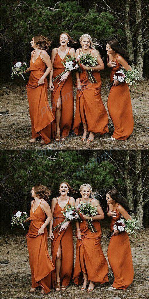 Charming Chiffon Organza Vneck Spaghetti Straps Split Long Bridesmaid DressWGY