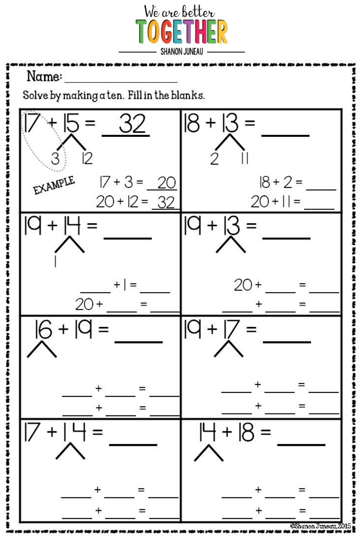 Make A Ten Math Math Worksheets Math Blocks [ 1500 x 1000 Pixel ]