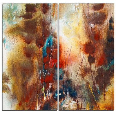 DesignArt Artistic Brown Abstract 2 Piece Graphic Art on Wrapped Canvas Set