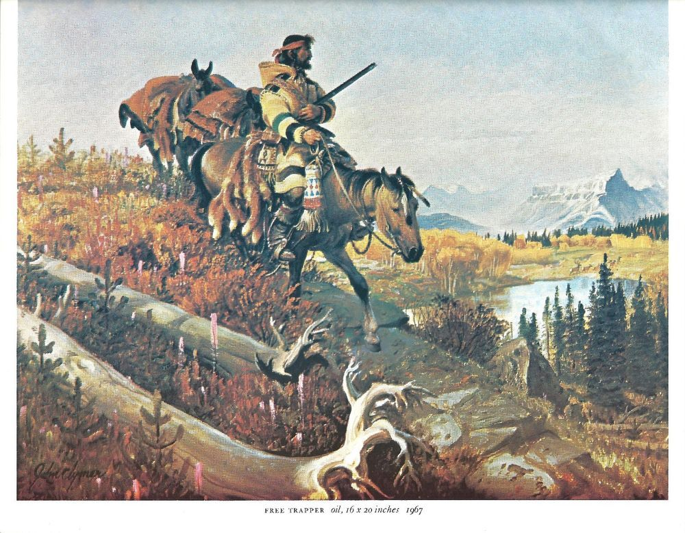 John Clymer Western Art Print FREE TRAPPER Color Lithograph #WesternFrontierArt