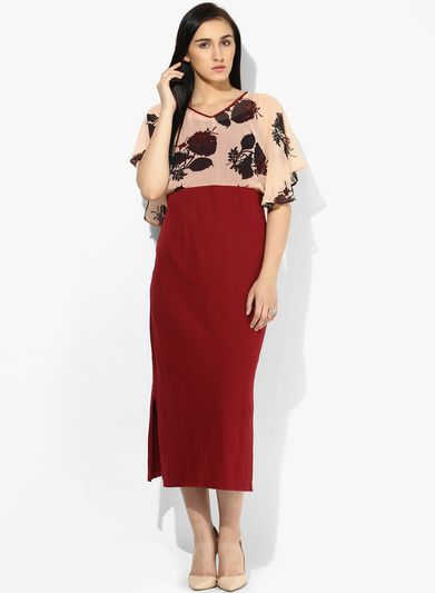 1f0c87fb4dc Buy Shibori Designs Maroon Colored Printed Maxi Dress for Women Online India