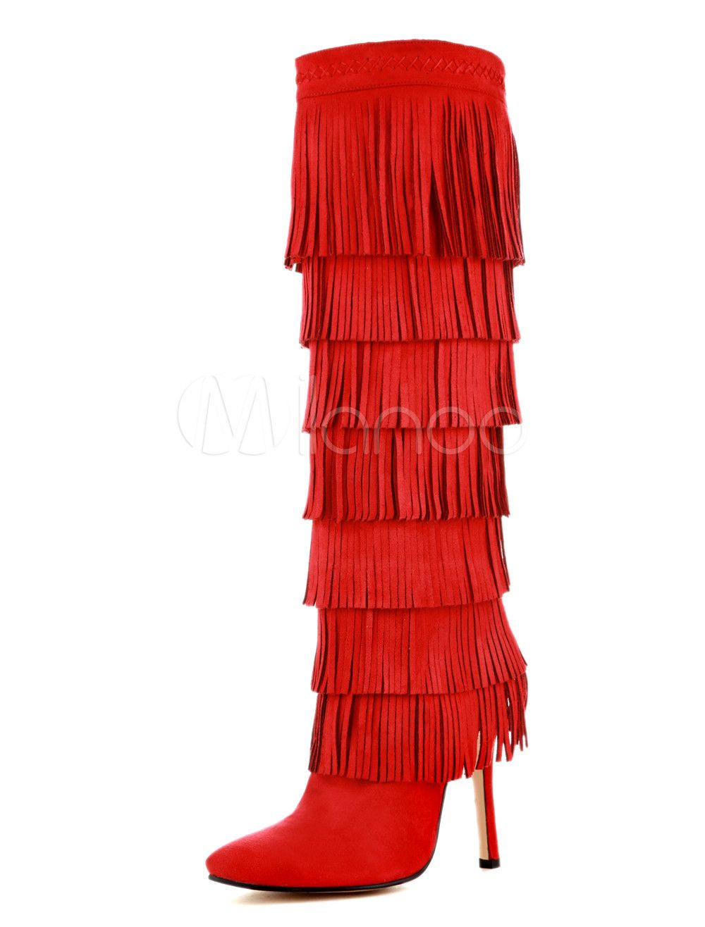 #Milanoo.com Ltd          #Over the Knee Boots      #Pointed #Fringe #Sheepskin #Suede #Women's #Over #Knee #Boots                Red Pointed Toe Fringe Sheepskin Suede Women's Over the Knee Boots                                      http://www.snaproduct.com/product.aspx?PID=5700290