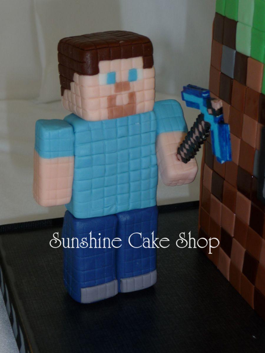 Minecraft Cake | Minecraft cake. Cake decorating with fondant. Minecraft steve cake