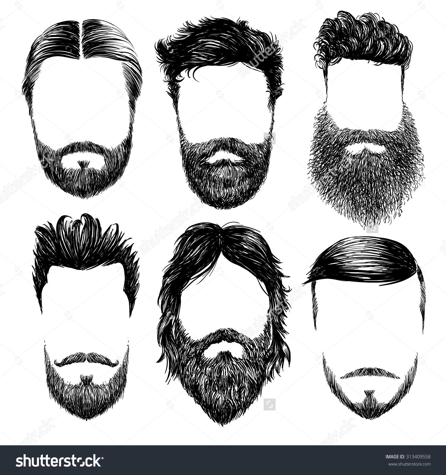 Hipster fashion man hair and beards Hand drawn vector illustration