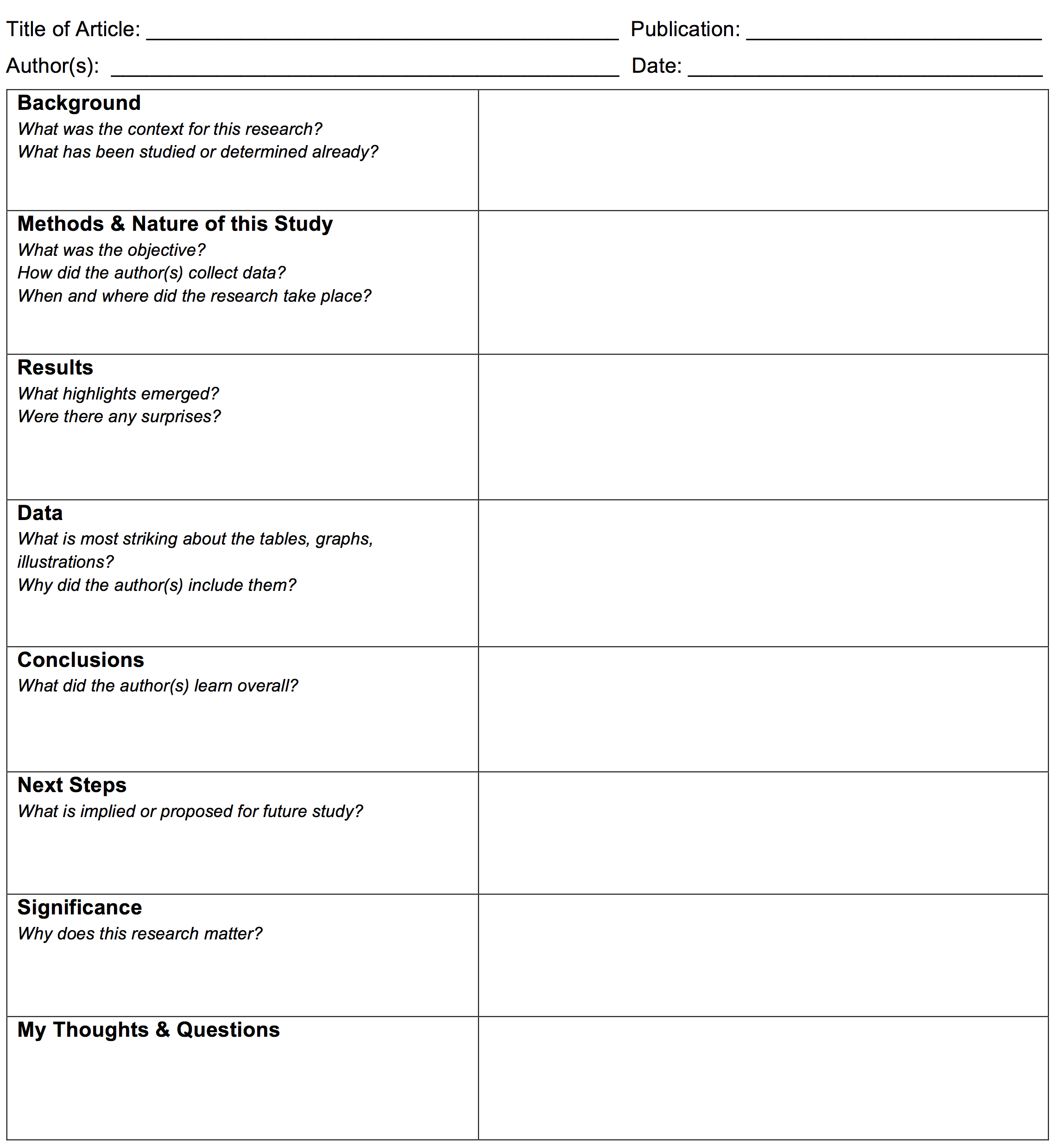 Note Taking Template For Journal Articles