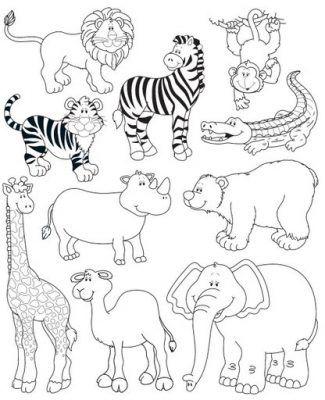 dibujos para colorear de animales salvajes para niños | para ...