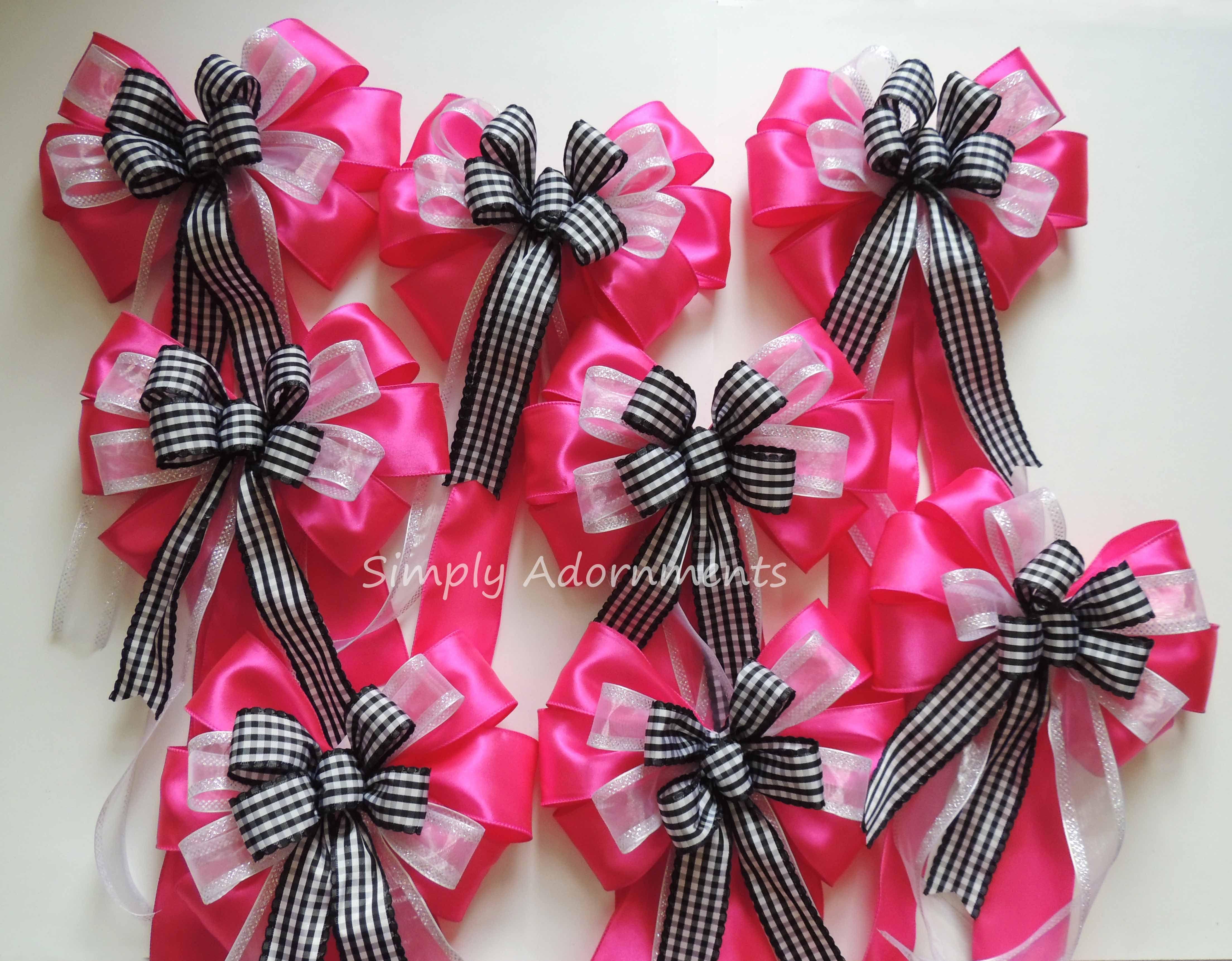 Pink Black check Wreath Bow pink Black Birthday Decor Black Fuchsia ...
