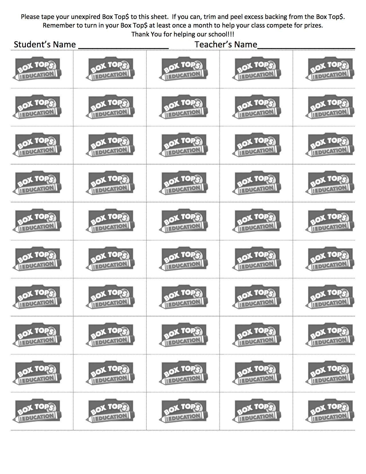 Box Tops 50 Count Sheet