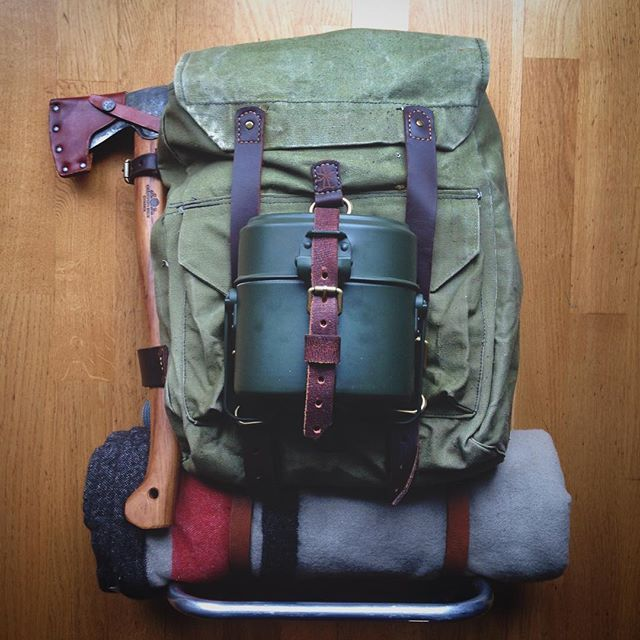 My new external frame canvas leather backpack is ready to go... #bu ...