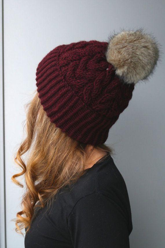e7f24379002 Wool   Acrylic Blend Yarn   Sally Hat   Wool Hat   Faux Fur Pom Pom   Slouchy  Beanie  Red   Wine   Burgundy   Plum   Purple