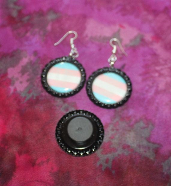 Earrings Transgender Awareness and Pride Flag Necklaces Available in Silver and Black Key Chains and Magnets Trans Rights -