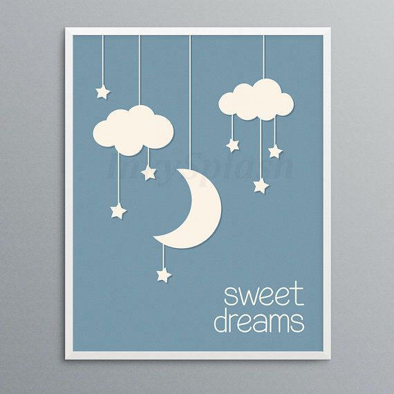 Moon Stars Clouds Nursery Wall Art Printable Sweet Dreams Etsy Cloud Nursery Wall Art Nursery Wall Art Printable Monochrome Baby Room