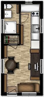 8 x 19 tiny house floor plans with loft above stairs or
