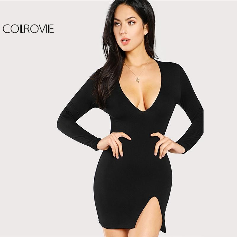 7b83eaea67d3 COLROVIE 2018 Plain Deep V Neck Long Sleeve Winter Mini Dress Black Slit  Front Form Fit Sexy Dress Women Short Party Dress
