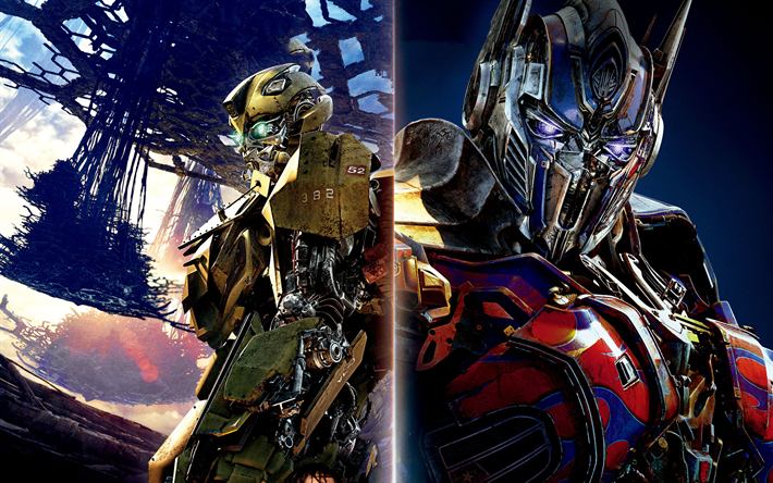 Download Wallpapers Transformers 5 The Last Knight 2017 Optimus Prime Bumblebee Besthqwallpapers Com Transformers Optimus Prime Optimus Prime Transformers 5