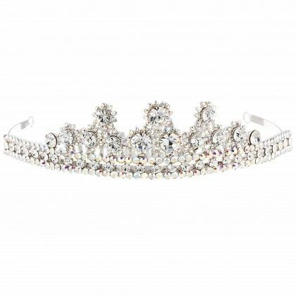 2a8c28c37ce9 Swarovski Crystal Cluster Point Tiara with AB   Clear White Diamond Swarovski  Crystals