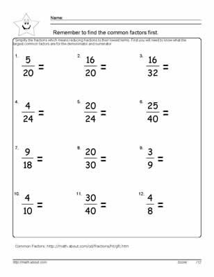 Worksheets On Simplifying Fractions For Th Graders  Classroom   Worksheets On Simplifying Fractions For Th Graders Reduce The Fractions   Worksheet   Answers On Nd Page Of Pdf