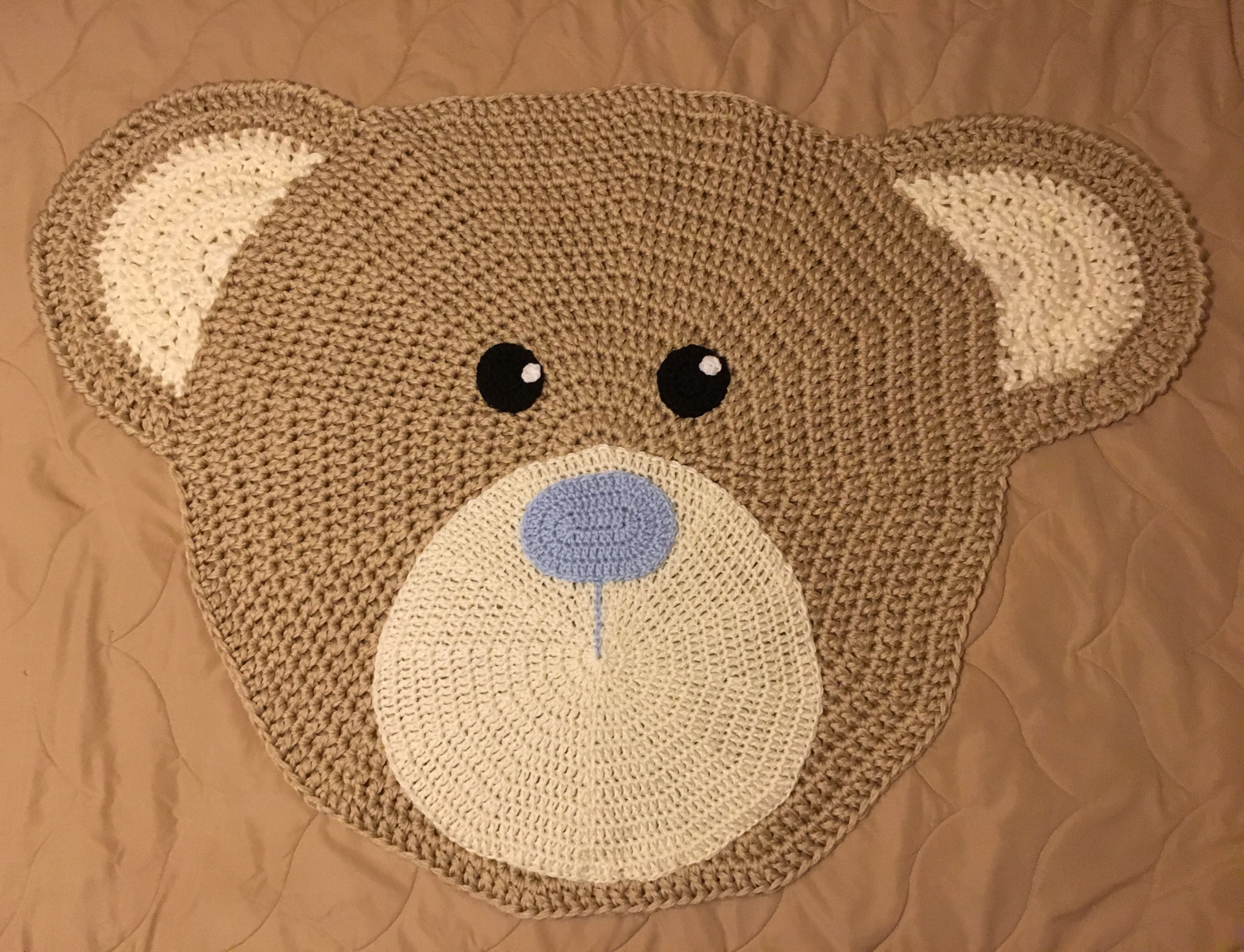 Teddy Bear head rug made for my grandson that s due in August Link