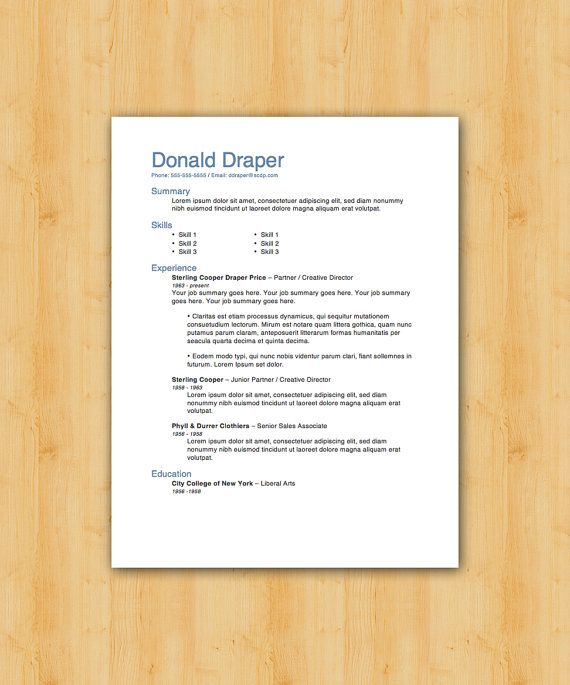 Professional Resume Template Pack of Two - The Draper \ Daniels - what goes in the summary of a resume