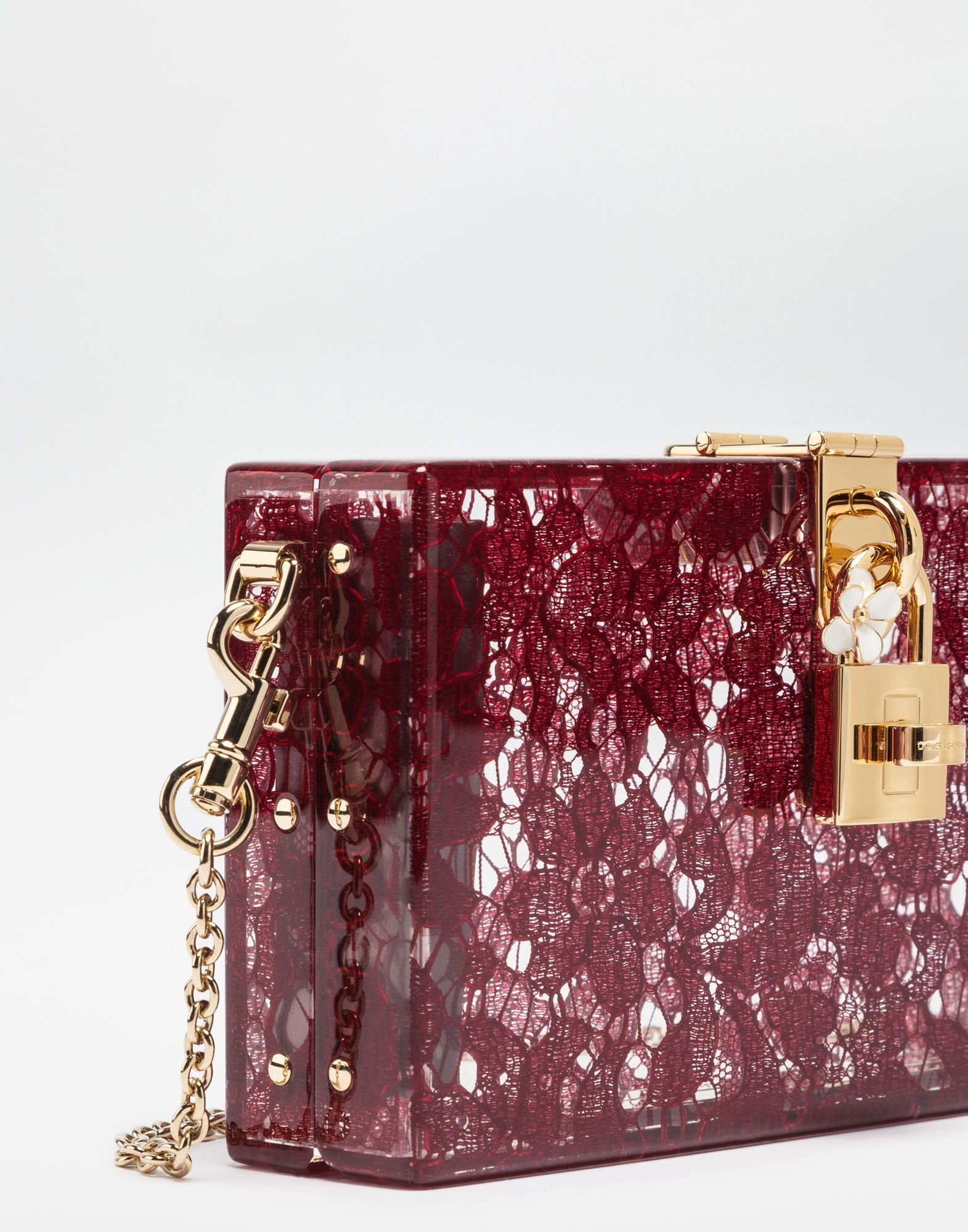 26437d0297 DOLCE BOX CLUTCH IN PLEXIGLASS AND LACE | Polished Pumps,Purses ...