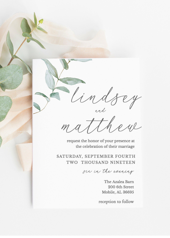 Greenery Wedding Invitation Wedding Invitation Template Etsy Wedding Invitation Templates Greenery Wedding Invitations Green Wedding Invitations