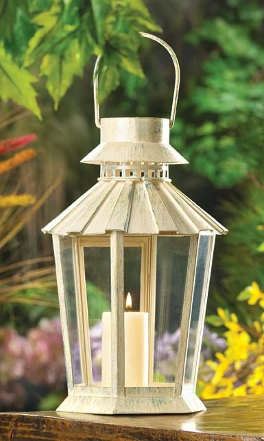 Weathered Ivory Garden Lanterns for Wedding Decorations and Lighting