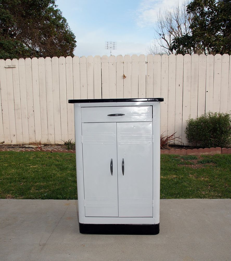 Vintage 1950 S Art Deco Metal Kitchen Cabinet Porcelain Top White Black 50s Metal Kitchen Cabinets Vintage Kitchen Cabinets 1950s Metal Kitchen