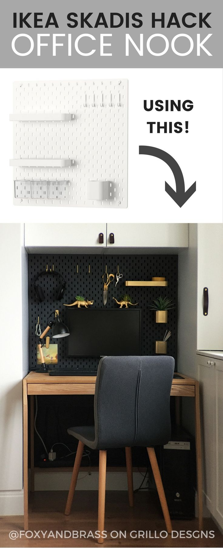 ikea skadis hack for a mini office nook my home pinterest arbeitszimmer buero and. Black Bedroom Furniture Sets. Home Design Ideas