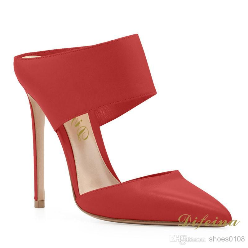 High Heels Woman Pointed Toe Sandalo rosso Color Woman Bare Sexy Ankle Sexy Bare   fc781e
