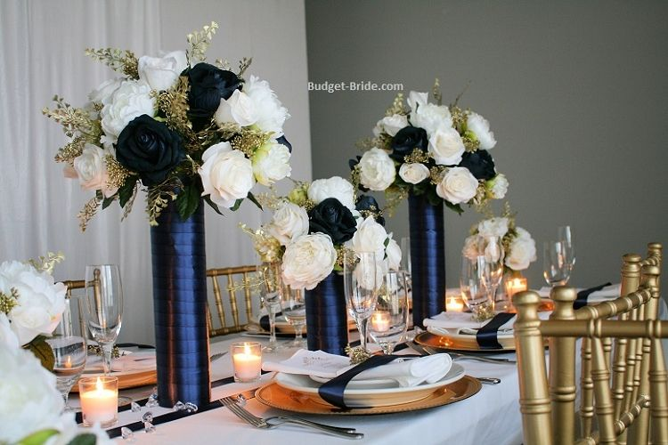 Wedding Table Decor In Navy Ivory And Gold Wedding