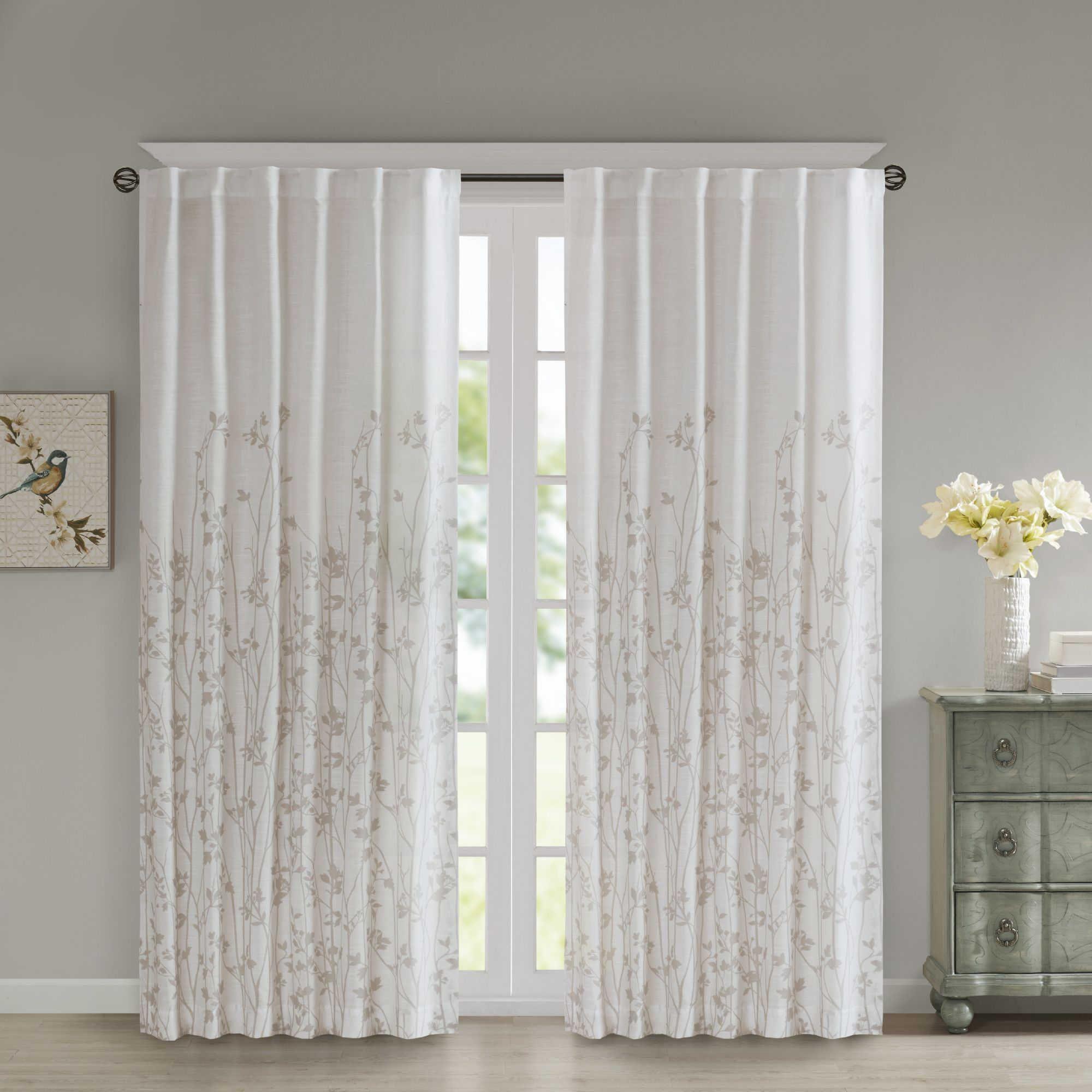 Madison Park Tunisia 84 Inch Window Curtain Panel White Paneling