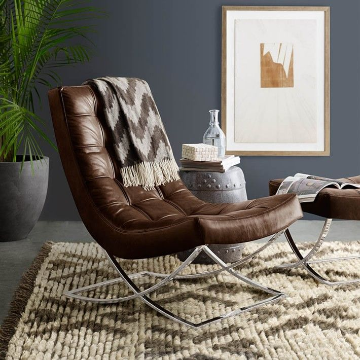 James Nickel U0026 Leather Chair | Williams Sonoma