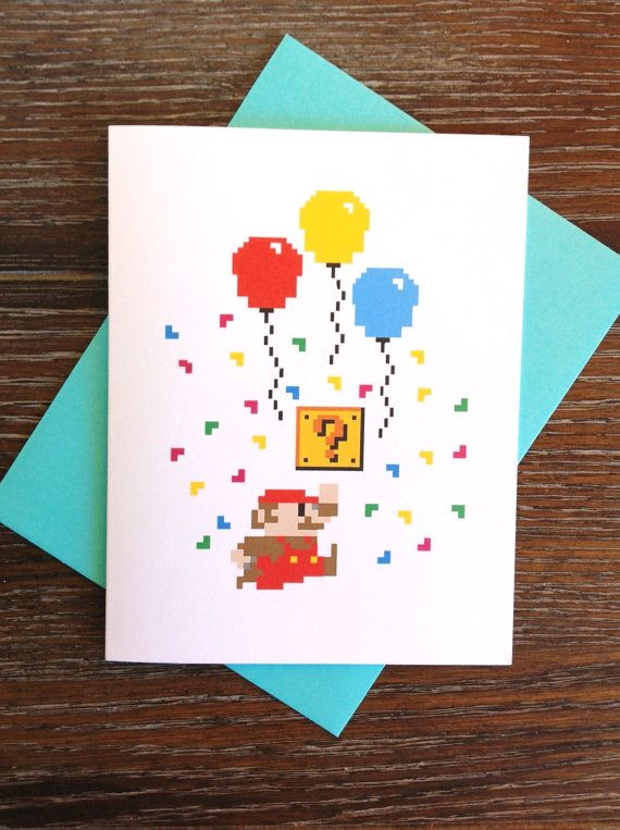 Super Mario Retro 8 Bit Birthday Card Card A Licious Pinterest