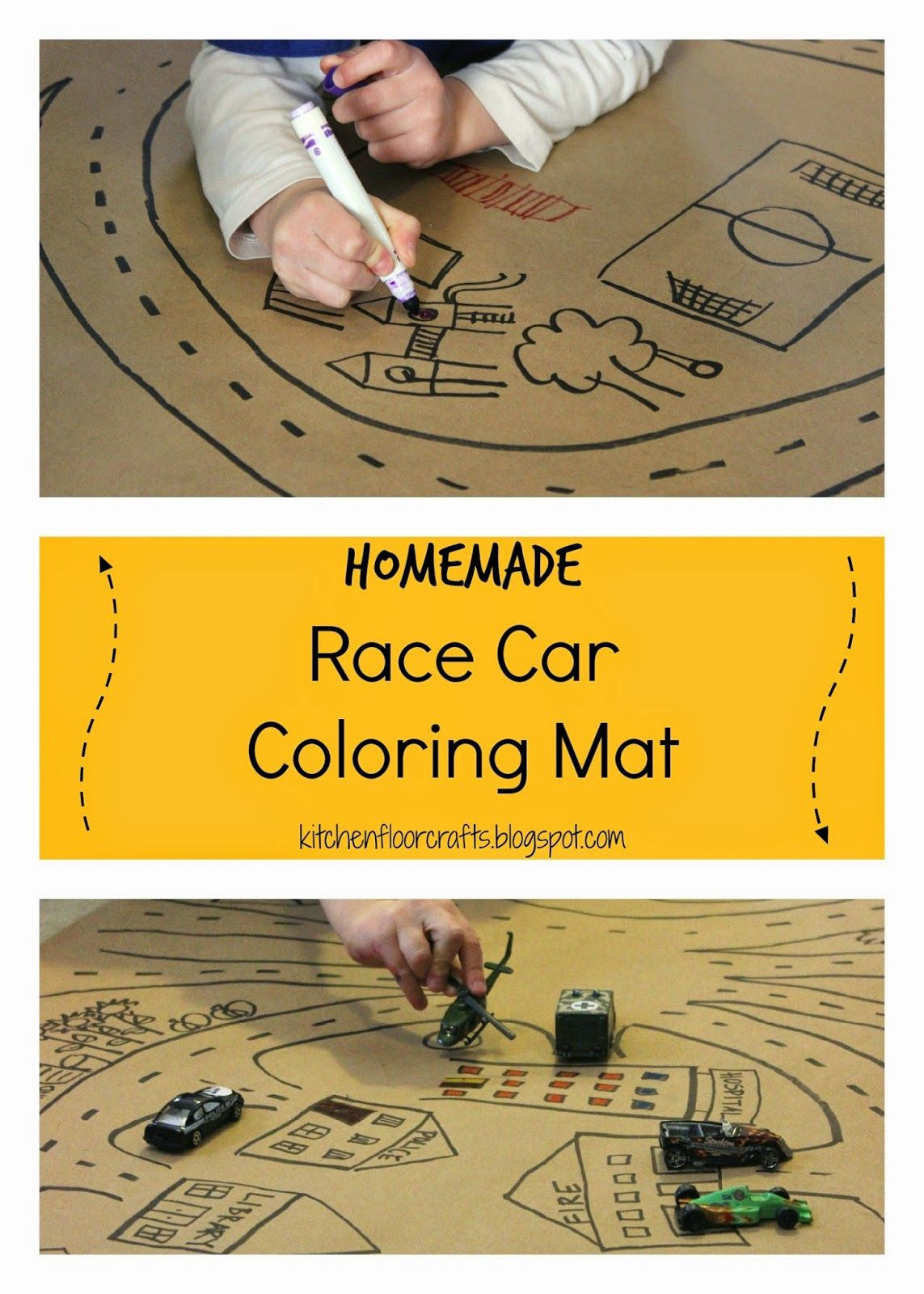 Kitchen Floor Crafts Homemade Race Car Coloring Mat