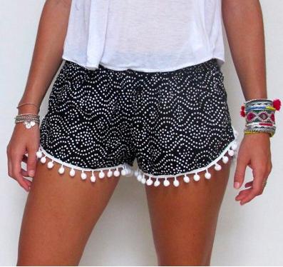 Comfy Womens Floral Tassel Drawstring Beach Casual Shorts Pants