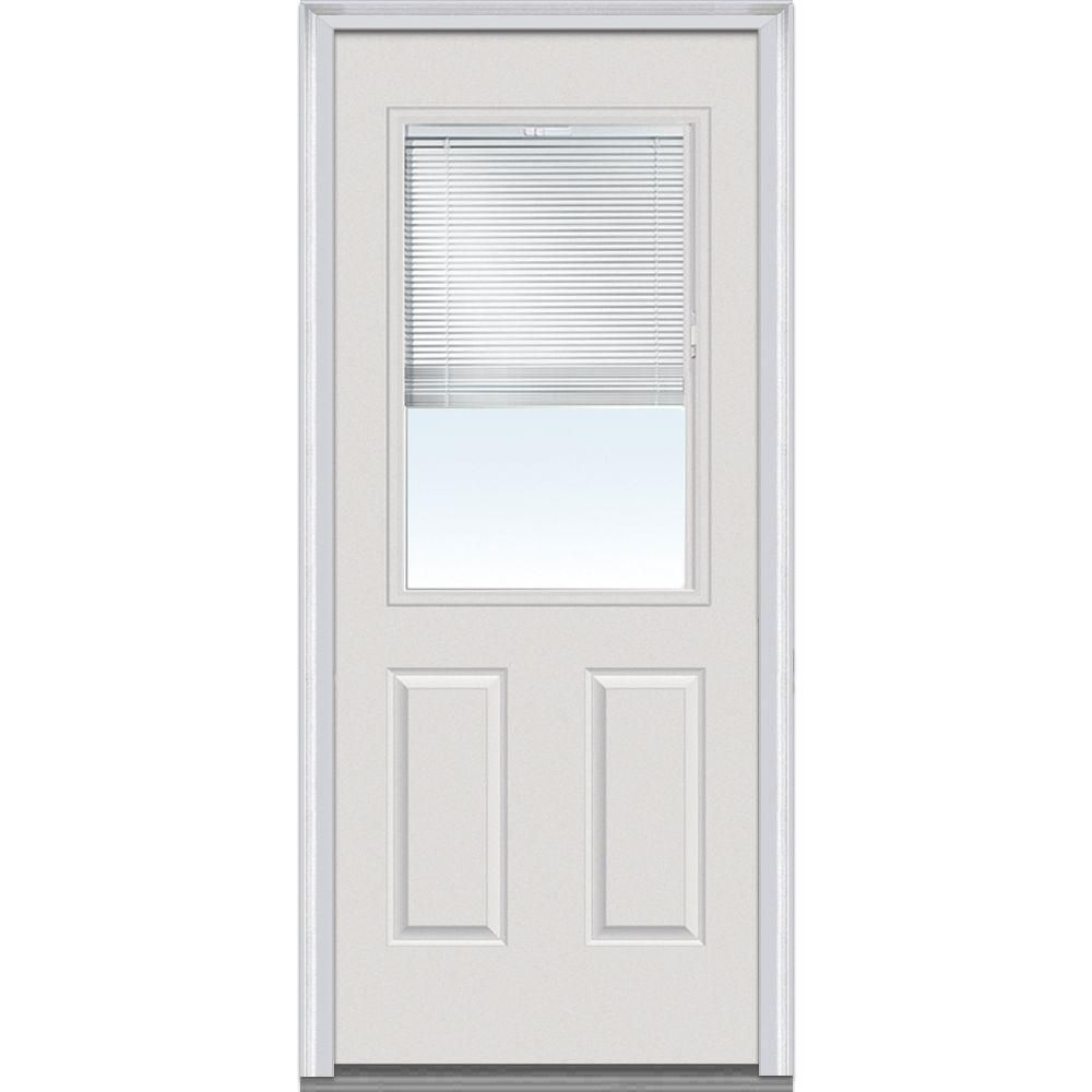 Milliken Millwork 36 In X 80 In Internal Mini Blinds Clear Glass 1 2 Lite 2 Panel Primed White Steel Prehung Steel Entry Doors Steel Doors Exterior